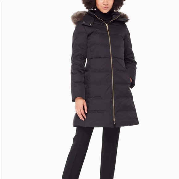 Kate Spade Faux Fur Trim Puffer Coat